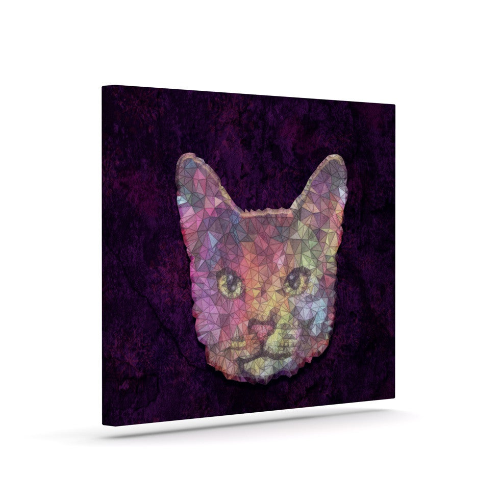 "Ancello ""Rainbow Cat"" Pastel Purple Canvas Art - KESS InHouse  - 1"