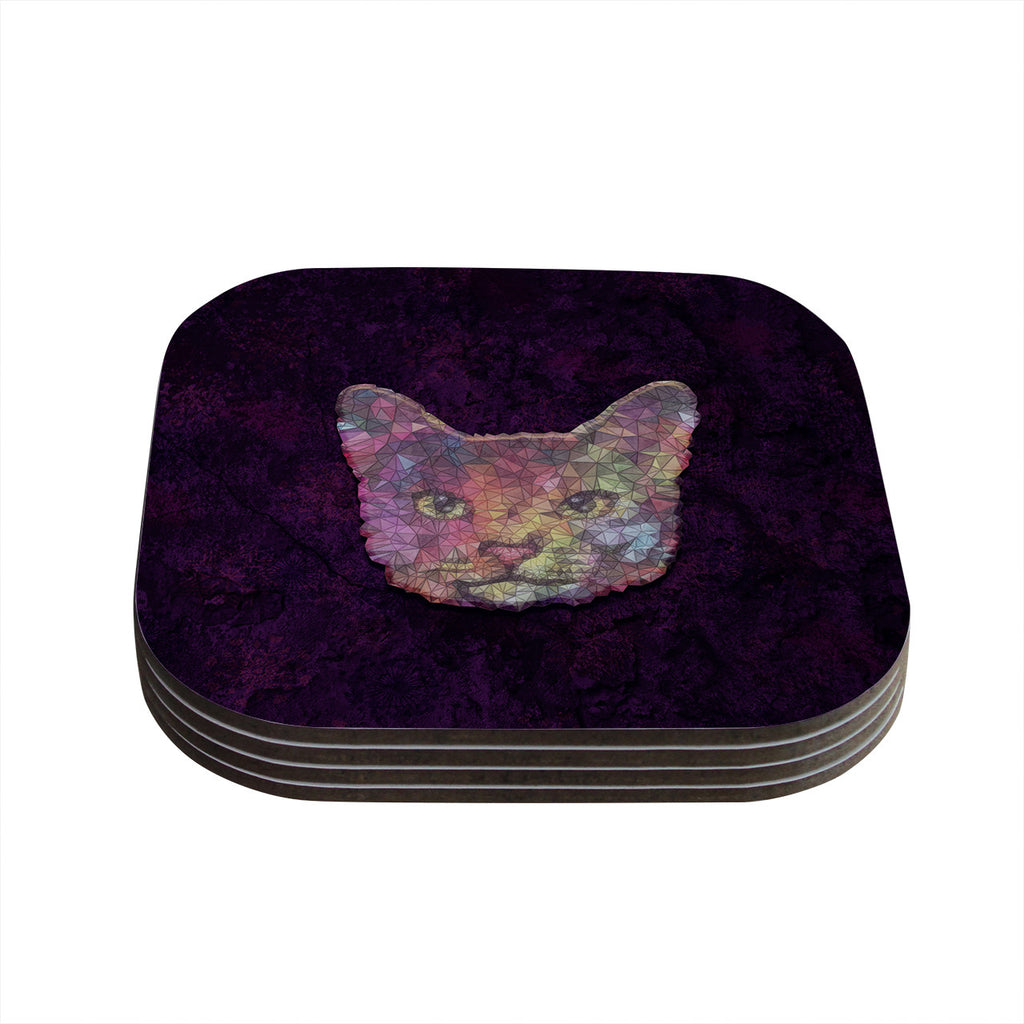 "Ancello ""Rainbow Cat"" Pastel Purple Coasters (Set of 4)"