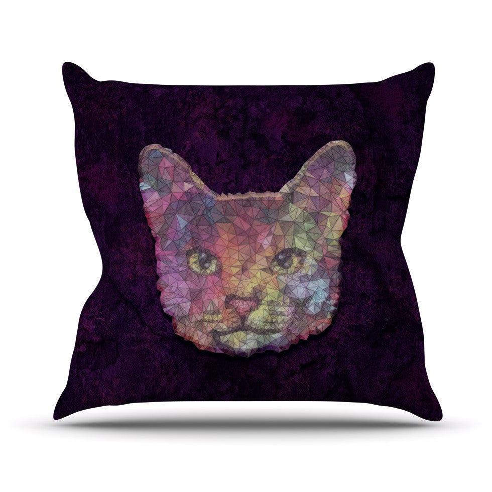"Ancello ""Rainbow Cat"" Pastel Purple Outdoor Throw Pillow - KESS InHouse  - 1"
