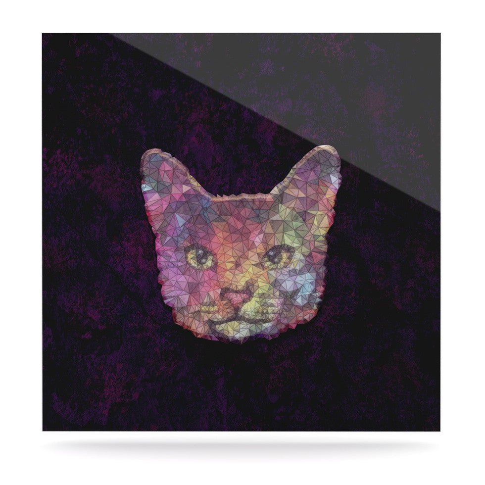 "Ancello ""Rainbow Cat"" Pastel Purple Luxe Square Panel - KESS InHouse  - 1"