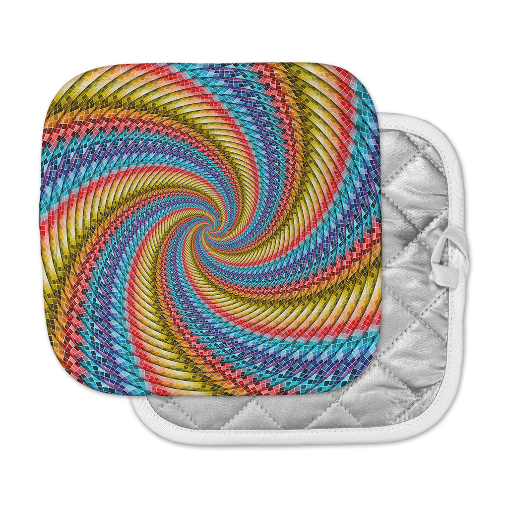 "Ancello ""Round Spirals"" Orange Blue Digital Pot Holder"