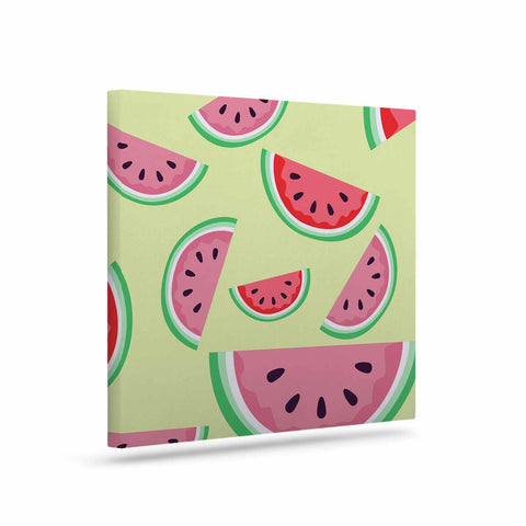 "afe images ""Watermelon Background"" Pink Food Canvas Art - KESS InHouse  - 1"