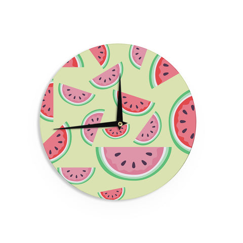 "afe images ""Watermelon Background"" Pink Food Wall Clock - KESS InHouse"