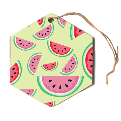 "afe images ""Watermelon Background"" Multicolor Red Pattern Food Illustration Digital Hexagon Holiday Ornament"