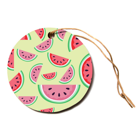 "afe images ""Watermelon Background"" Multicolor Red Pattern Food Illustration Digital Circle Holiday Ornament"