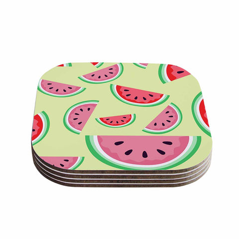 "afe images ""Watermelon Background"" Pink Food Coasters (Set of 4)"