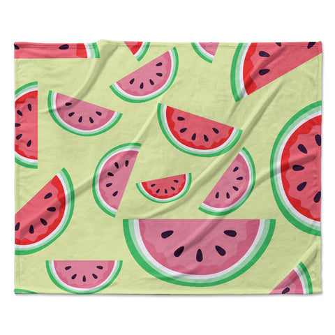 "afe images ""Watermelon Background"" Pink Food Fleece Throw Blanket"