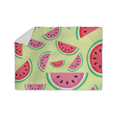 "afe images ""Watermelon Background"" Pink Food Sherpa Blanket - KESS InHouse  - 1"