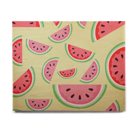"afe images ""Watermelon Background"" Pink Food Birchwood Wall Art - KESS InHouse  - 1"