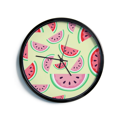 "AFE Images ""Watermelon Background"" Multicolor Red Pattern Food Illustration Digital Modern Wall Clock"