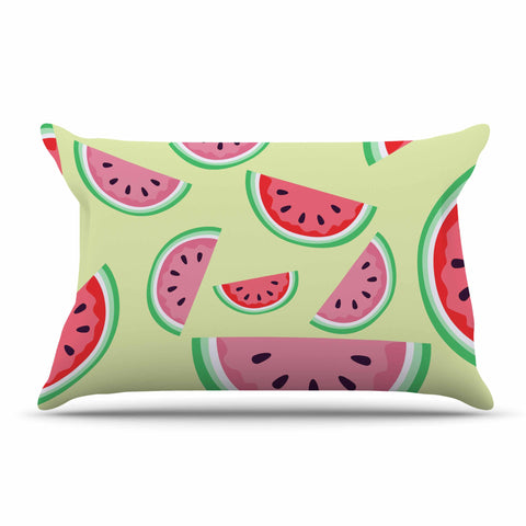 "afe images ""Watermelon Background"" Pink Food Pillow Sham - KESS InHouse  - 1"
