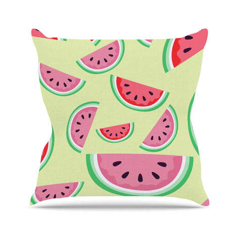 "afe images ""Watermelon Background"" Pink Food Outdoor Throw Pillow - KESS InHouse  - 1"