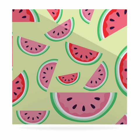 "afe images ""Watermelon Background"" Pink Food Luxe Square Panel - KESS InHouse  - 1"