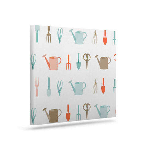 "afe images ""Gardening Tools Pattern"" Teal Abstract Canvas Art - KESS InHouse  - 1"