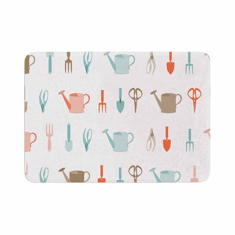 "afe images ""Gardening Tools Pattern"" Teal Abstract Memory Foam Bath Mat - KESS InHouse"