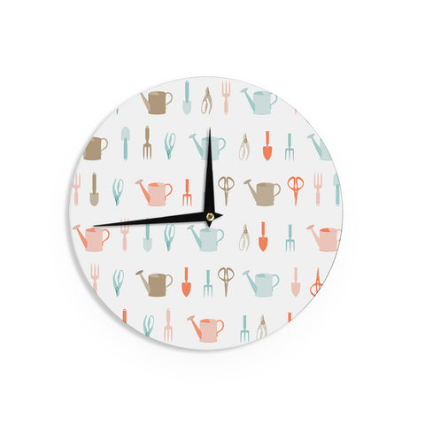 "afe images ""Gardening Tools Pattern"" Teal Abstract Wall Clock - KESS InHouse"