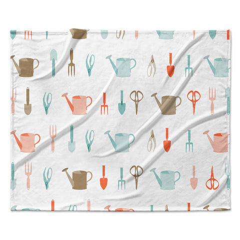 "afe images ""Gardening Tools Pattern"" Teal Abstract Fleece Throw Blanket"