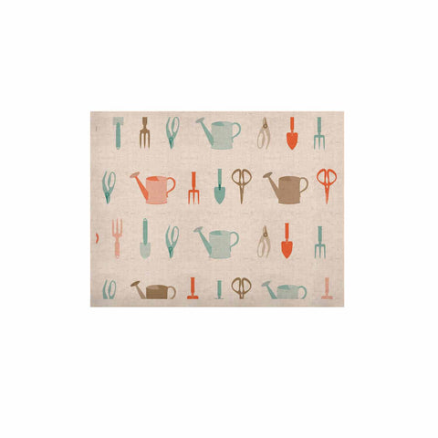 "afe images ""Gardening Tools Pattern"" Teal Abstract KESS Naturals Canvas (Frame not Included) - KESS InHouse  - 1"