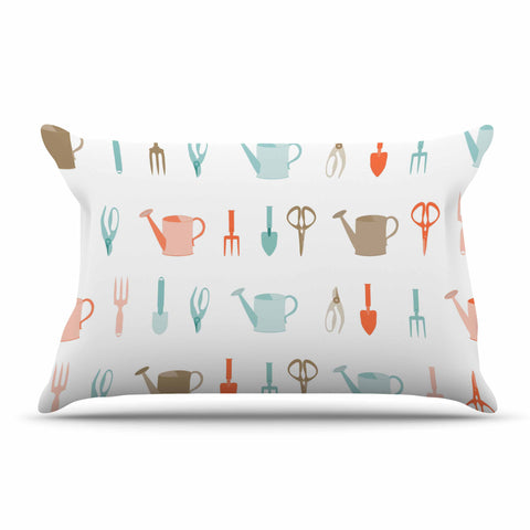 "afe images ""Gardening Tools Pattern"" Teal Abstract Pillow Sham - KESS InHouse  - 1"