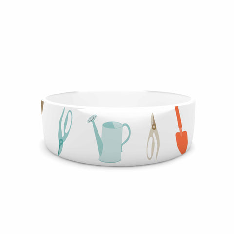 "afe images ""Gardening Tools Pattern"" Teal Abstract Pet Bowl - KESS InHouse"