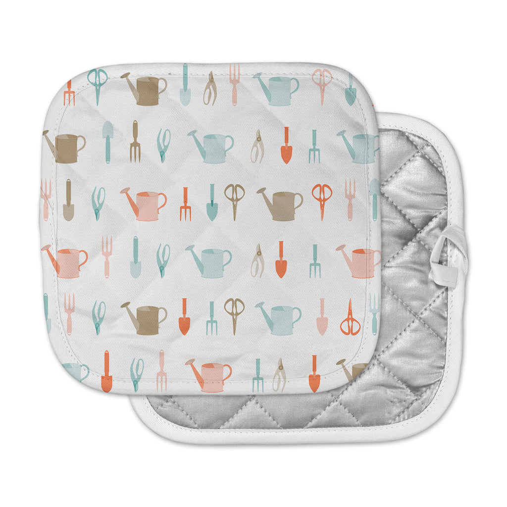 "afe images ""Gardening Tools Pattern"" Teal Abstract Pot Holder"