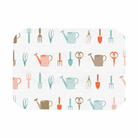 "afe images ""Gardening Tools Pattern"" Teal Abstract Place Mat - KESS InHouse"
