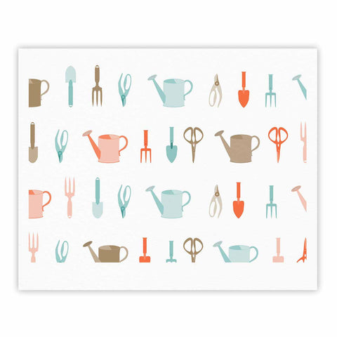 "afe images ""Gardening Tools Pattern"" Teal Abstract Fine Art Gallery Print - KESS InHouse"