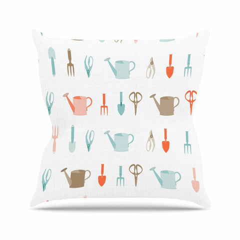 "afe images ""Gardening Tools Pattern"" Teal Abstract Throw Pillow - KESS InHouse  - 1"