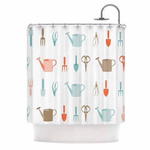 "afe images ""Gardening Tools Pattern"" Teal Abstract Shower Curtain - KESS InHouse"