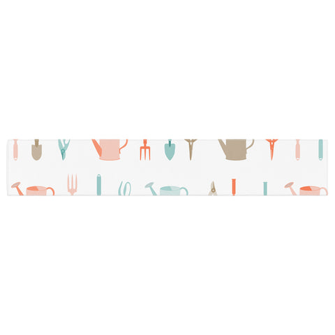 "afe images ""Gardening Tools Pattern"" Teal Abstract Table Runner - KESS InHouse  - 1"