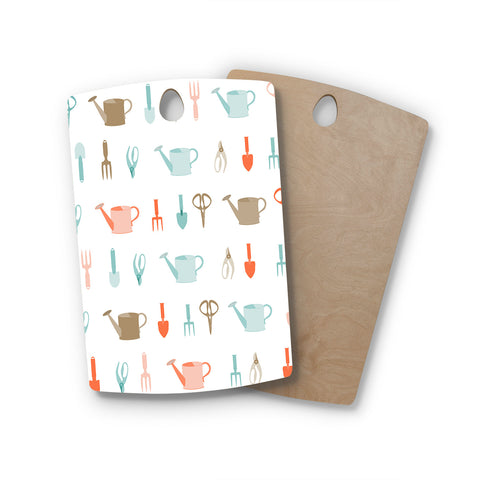 "afe images ""Gardening Tools Pattern"" Rectangle Wooden Cutting Board"