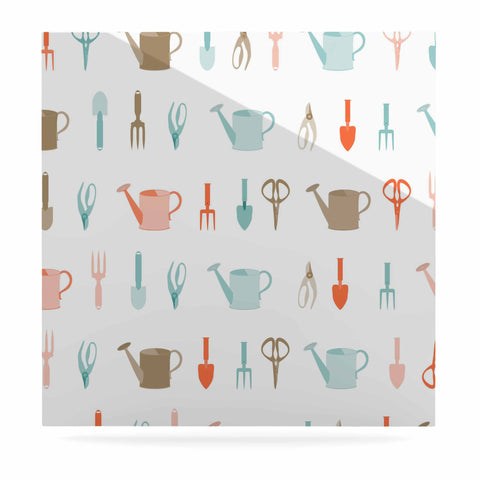 "afe images ""Gardening Tools Pattern"" Teal Abstract Luxe Square Panel - KESS InHouse  - 1"