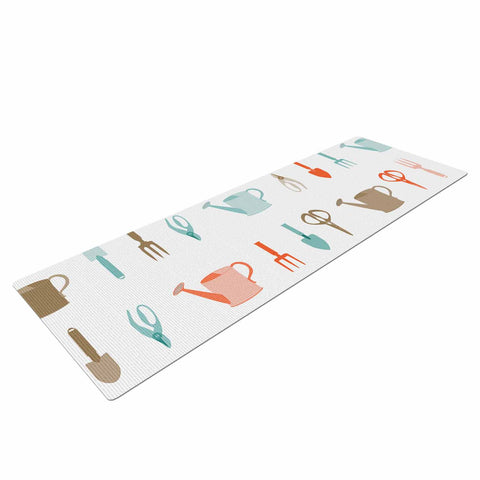 "afe images ""Gardening Tools Pattern"" Teal Abstract Yoga Mat - KESS InHouse  - 1"
