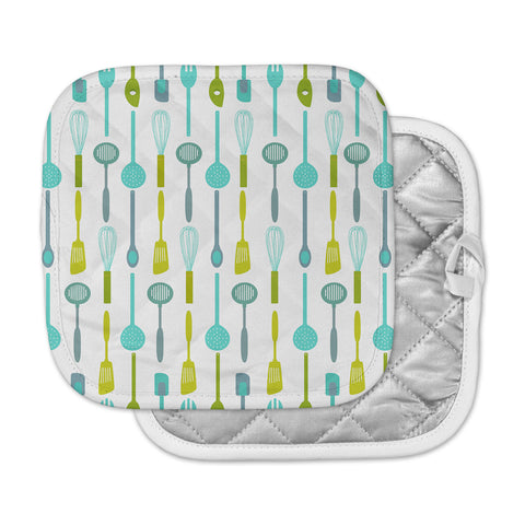 "afe images ""Kitchen Utensils"" Olive Illustration Pot Holder"