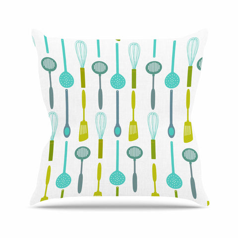 "afe images ""Kitchen Utensils"" Olive Illustration Throw Pillow - KESS InHouse  - 1"