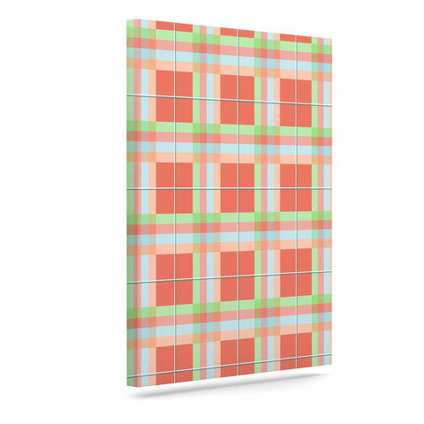 "afe images ""Summer Plaid Pattern"" Coral Pattern Canvas Art - KESS InHouse  - 1"