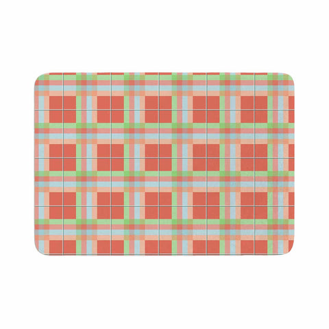 "afe images ""Summer Plaid Pattern"" Coral Pattern Memory Foam Bath Mat - KESS InHouse"