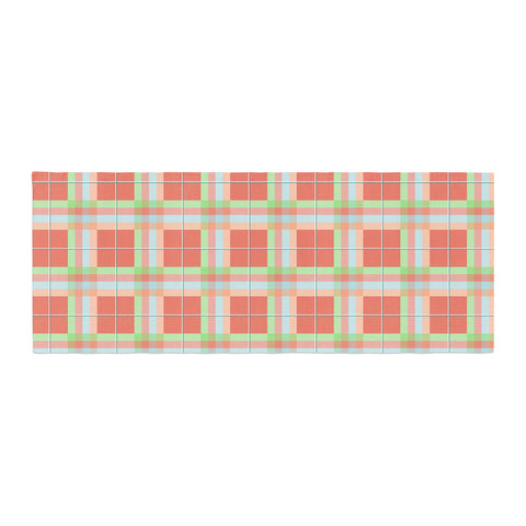 "afe images ""Summer Plaid Pattern"" Coral Pattern Bed Runner - KESS InHouse"