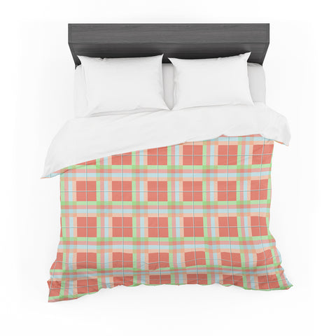 "afe images ""Summer Plaid Pattern"" Coral Pattern Featherweight Duvet Cover"
