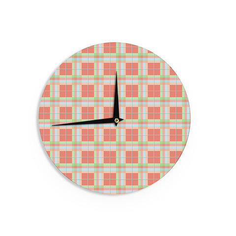 "afe images ""Summer Plaid Pattern"" Coral Pattern Wall Clock - KESS InHouse"