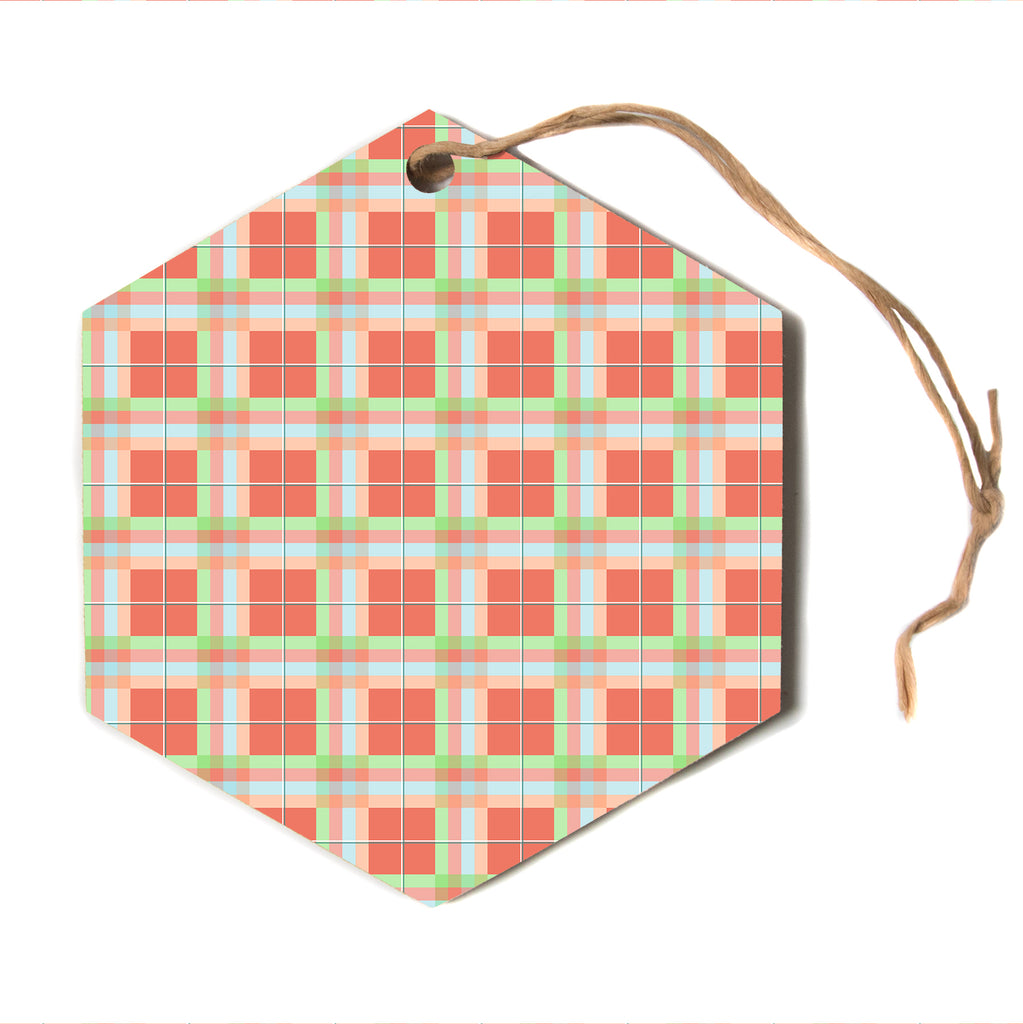 "afe images ""Summer Plaid Pattern"" Red Pastel Pattern Modern Illustration Digital Hexagon Holiday Ornament"