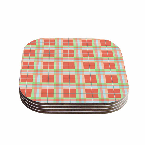 "afe images ""Summer Plaid Pattern"" Coral Pattern Coasters (Set of 4)"