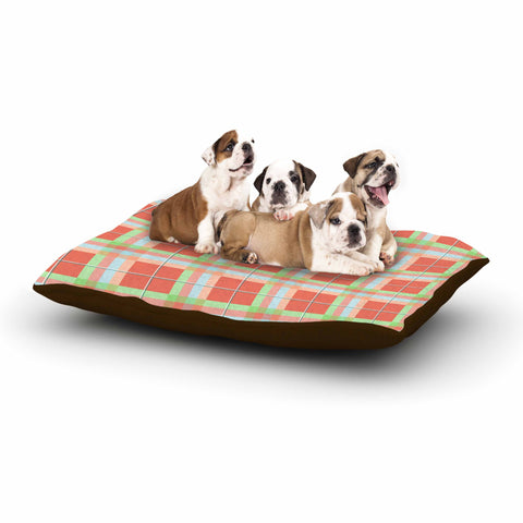 "afe images ""Summer Plaid Pattern"" Coral Pattern Dog Bed - KESS InHouse  - 1"