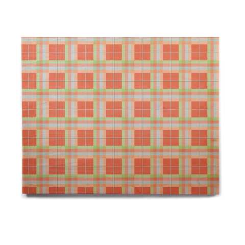 "afe images ""Summer Plaid Pattern"" Coral Pattern Birchwood Wall Art - KESS InHouse  - 1"