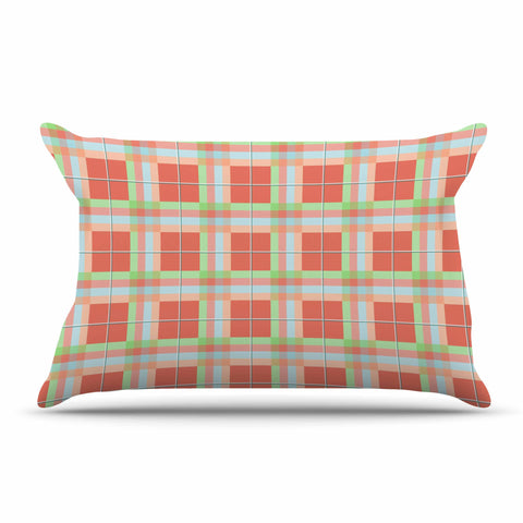 "afe images ""Summer Plaid Pattern"" Coral Pattern Pillow Sham - KESS InHouse  - 1"