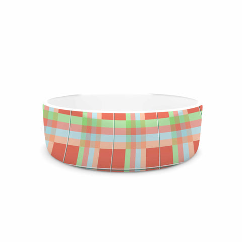 "afe images ""Summer Plaid Pattern"" Coral Pattern Pet Bowl - KESS InHouse"