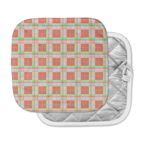 "afe images ""Summer Plaid Pattern"" Coral Pattern Pot Holder"