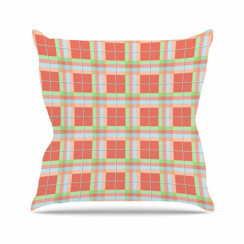 "afe images ""Summer Plaid Pattern"" Coral Pattern Outdoor Throw Pillow - KESS InHouse  - 1"