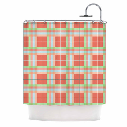 "afe images ""Summer Plaid Pattern"" Coral Pattern Shower Curtain - KESS InHouse"