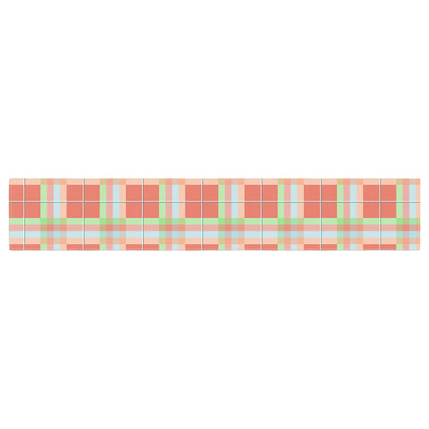 "afe images ""Summer Plaid Pattern"" Coral Pattern Table Runner - KESS InHouse  - 1"